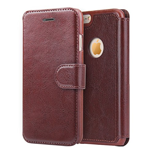 [iPhone 6S Wallet Leather Case - L-Tiger iPhone 6 Ultra Slim Flip Cover Credit Card  Protective Case with Magnetic Closure for Apple iPhone 6/6S 4.7 inch (Dark Brown)] (6 Tiger)