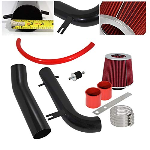 For 1995-1997 Honda Accord (2.7L V6 Only) /1998-2002 Accord (3.0L V6 Only) 2.75 Inch Aluminum High Flow Cold Air Intake System Black Pipe with Air Filter Red