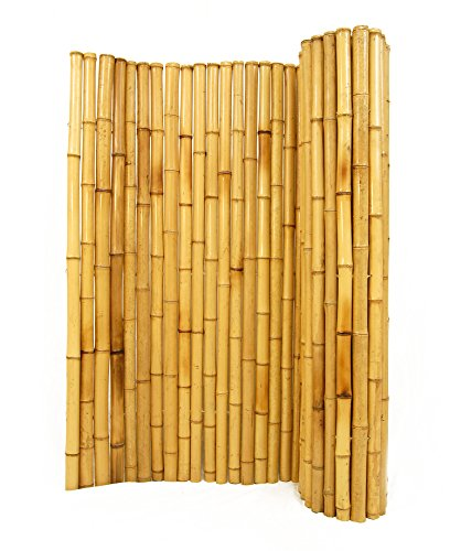 Natural Rolled Bamboo Fencing 1″ D x 4′ H x 8′ L For Sale