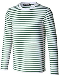 Allegra K Men Crew Neck Striped Long Sleeves Cotton/ Spandex Causal T-shirt