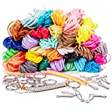 Juvale 1240 Feet Plastic Lacing String Cord Kit - 31 Colors, 15 Lanyard Hooks, and 15 Keyrings, for DIY Craft Jewelry