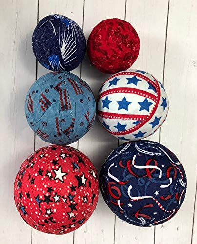 Set of 6 patriotic fabric wrapped rag ball bowl fillers- various sizes