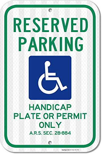 (Reserved Handicap Parking Sign, Parking by Plate or Permit Only, 12x18 3M Reflective (EGP) Rust Free .63 Aluminum, Easy to Mount Weather Resistant Long Lasting Made in USA by SIGO Sign)