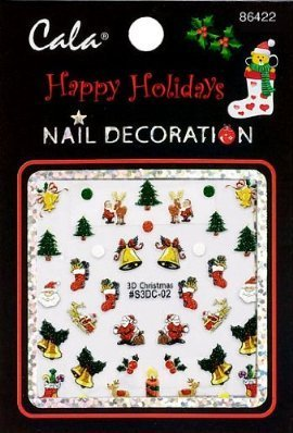Cala Nail Decoration x2 Packs 3D Christmas #86442+ Aviva Eco Nail File by Cala - Eco Christmas Decorations
