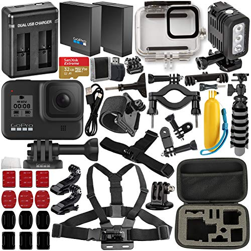 GoPro HERO8 Black with Deluxe Accessory Bundle - Includes: SanDisk Extreme 32GB microSDHC Memory Card, Spare Battery, Dual Battery Charger, Underwater Housing, LED Light & Much More