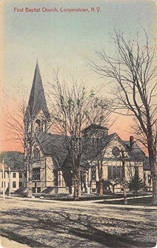 Cooperstown New York First Baptist Church Street View Antique Postcard K78361 ()