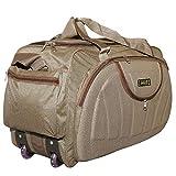 alfisha Unisex Synthetic Lightweight Waterproof Luggage Travel Duffel Bag with Roller Wheels (Gala Red, AFB-DUF-16) (Brown)