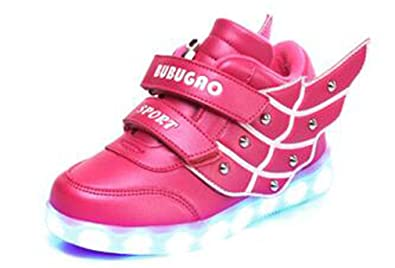 Pandabeauty Kid Girl LED Light up Sneaker Athletic Wings Shoe High Student Dance Boot USB Charge