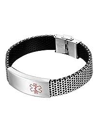 HOUSWEETY Unisex Stainless Steel ID Tag Medical Alert Cross Logo Engraved Wristband Chain Bracelet
