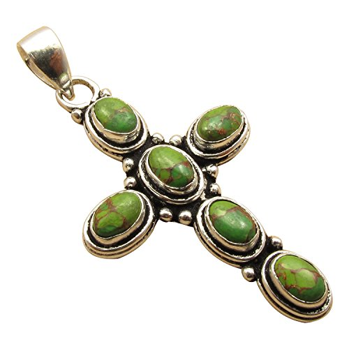 925 Silver Plated ETHNIC CROSS Pendant ! BRAND NEW Oxidized Jewelry ! Genuine Oval Gemstones ! Stone Options (Green Stone Cross)