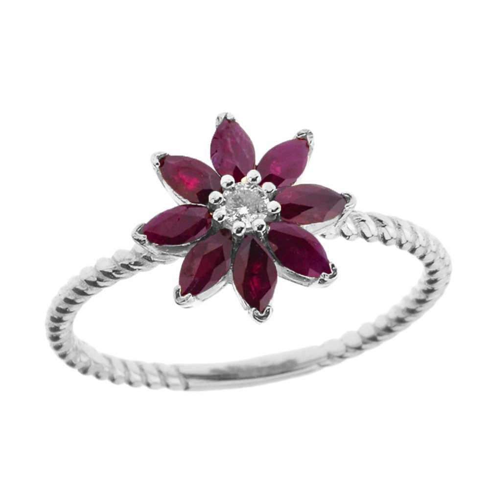Elegant 10k White Gold Diamond Daisy Rope Promise Ring with Ruby Petals (Size 5)