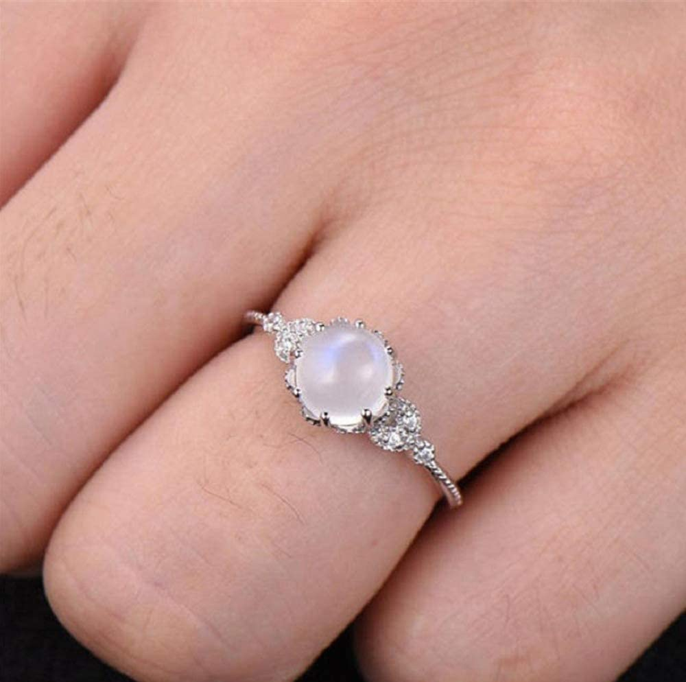 Yuren Women Ring Delicate Moonstone Diamond Ring Stylish Exquisite Encrusted Ring Engagement Ring Lovers Gift Size 6-10 Size 6