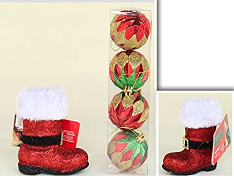 Gloss & Glitter Colorful Fun & Exciting Christmas Ornament Bundle 6 Pieces: 2 Adorable Santa's Boots with White Fur & 4 Colorful Round Ornaments with Stings