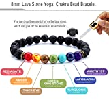 Hamoery Men Women 8mm Lava Rock 7 Chakra Essential Oil Diffuser Bracelet Elastic Natural Stone Yoga Beads Bracelet Bangle-21001