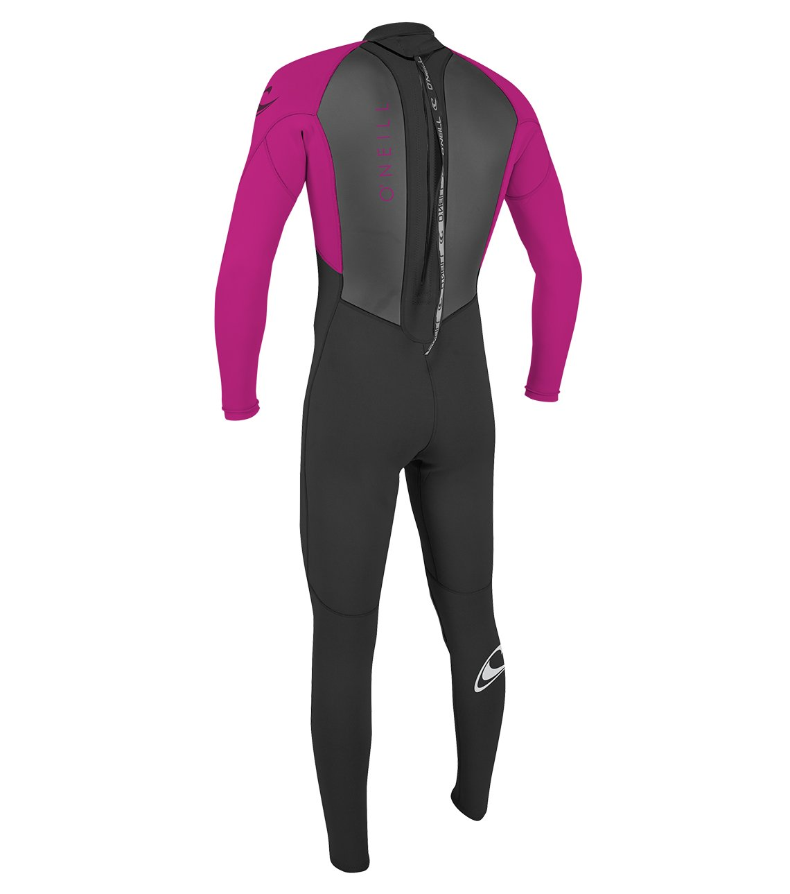 O'Neill Youth Reactor-2 3/2mm Back Zip Full Wetsuit, Black/Berry, 4 by O'Neill Wetsuits (Image #2)