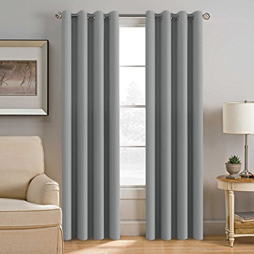 H.Versailtex Blackout Room Darkening Curtains Window Panel Drapes - (Dove Gray Color) - 1 Panel - 52 inch Wide by...