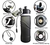 BBD Collapsible Water Bottle 750ml/ 26 oz – Leak Proof Silicone Foldable Sports Water Bottle BPA Free