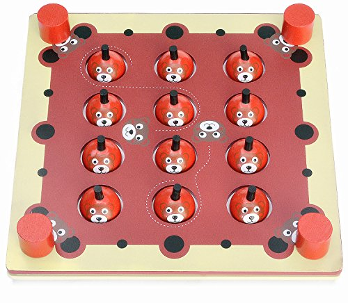Learning Memory Box (7TECH Interactive Memory Matching Game Wooden Chess Board With Animals Fruits Vegetables Numbers Letters Educational Puzzle Toy for Kids)