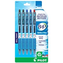 Pilot B2P, Bottle to Pen, Retractable Ball Point Pens Made from Recycled Bottles, 5 Pen Pack, Fine Point, 2 Black/2 Blue/1 Red -32614