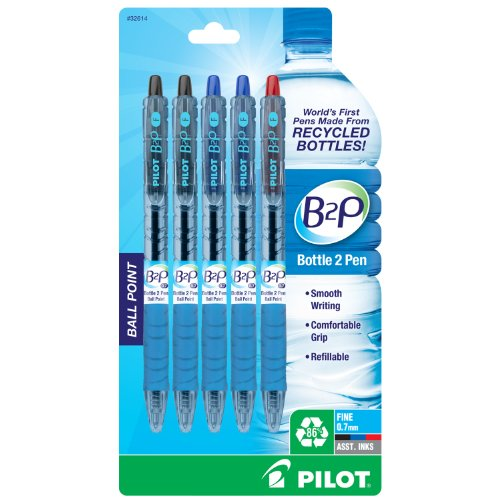 Pilot Bottle-2-Pen (B2P) - Retractable Ball Point Pens Made from Recycled Bottles (5 Count) Fine Point, 2 Black Ink/2 Blue Ink/1 Red Ink, Refillable, Comfortable Grip (32614)