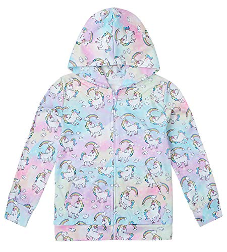 Comy Cartoon Lightweight Zipper Hooded Sweatshirt Lovely Outdoor Spray Rainbow Color Pink Purple Lavender Blue Green Unicorn Cloud Hoody Pull-Ups for Girl Kid Child Teen Schooler Youth, 9-12 years old