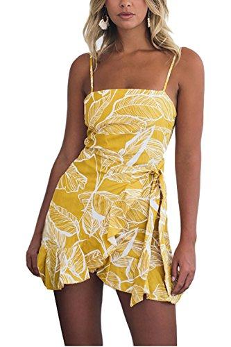 Alelly Womens Summer Dress Floral Backless Spaghetti Strap Leaf Print Mini Dress