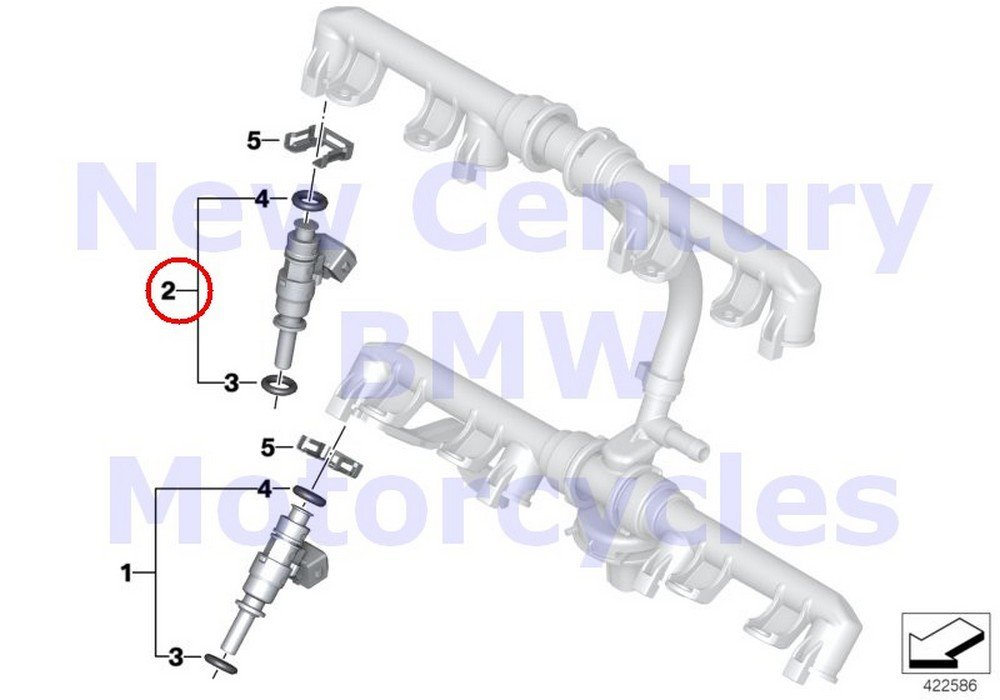 2 x BMW Genuine Motorcycle Fuel Lines Pressure Regulator Injection Valve EV14 R nine T R1200GS R1200GS Adventure HP2 Enduro HP2 Megamoto R1200RT R900RT R1200R R1200ST HP2 Sport R1200S HP4 S1000RR S10