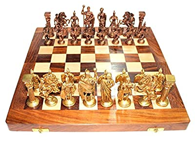 "Purpledip Chess Set with Brass Sculpted Pieces in Ancient Roman Style and Wooden Board ""Golden Era"": Strategy Board Game with Universal Rules; Loved Alike by Kids and Adults of All Ages (10404)"