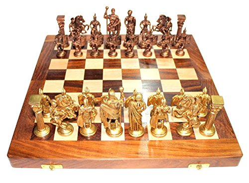 Purpledip Chess Set with Brass Sculpted Pieces in Ancient Roman Style and Wooden Board