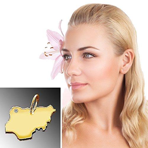 Endroit Exclusif Nigeria Carte Pendentif avec brillant à votre Désir (Position au choix.)-massif Or jaune de 585or, artisanat Allemande-585de bijoux