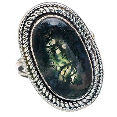 Green Moss Agate Ring Size 8 (925 Sterling Silver) - Handmade Boho Vintage Jewelry RING891373 ()