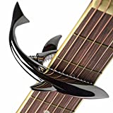 Guitar Capo for Acoustic and Electric Guitar Shark Capo Zinc Alloy for 6 and 12 String Guitar with Good Hand Feeling, No Fret Buzz and Durable(Black)