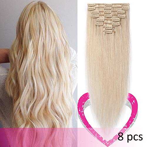 Remy Clip in Hair Extensions 100% Human Hair 16Inch 65g Standard Weft 8 Pcs 18 Clips Thick Soft Silky Straight Hair for Women Gift Beauty #70 White Blonde -