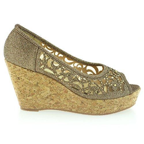 Fiesta de Mujer Sandalias Noche Señoras Peeptoe Marrón Zapatos Cuña Tacón Talla Diamante qYUEYwF
