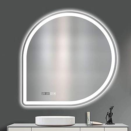 DOOST 31X - Espejo de baño con iluminación de fondo (31 pulgadas, LED, espejo de pared cuadrado con botón de defogger y botón de memoria táctil regulable), White Light, izquierda: Amazon.es: Hogar