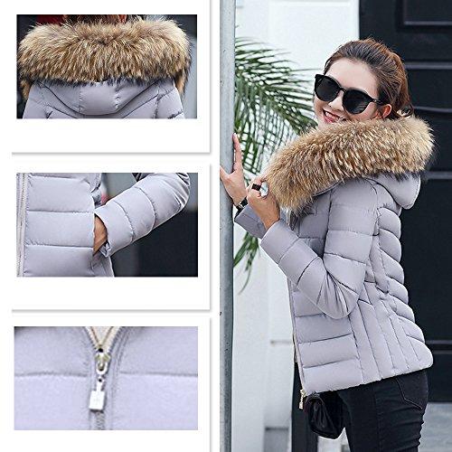 2017 Capucha para invierno Estola Chaqueta Court Parka BAINASIQI Abrigo con Gris Mujer el Elegante Acolchada dfOPFq