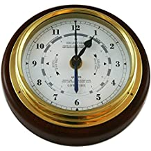 """Ambient Weather 1434GU-22 Fischer Mahogany Wood and Brass Tide and Time Clock, 6-1/2"""""""