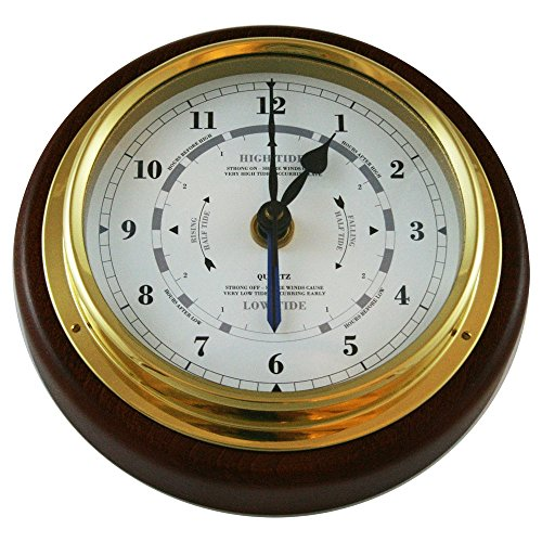 - Ambient Weather 1434GU-22 Fischer Mahogany Wood and Brass Tide and Time Clock, 6-1/2