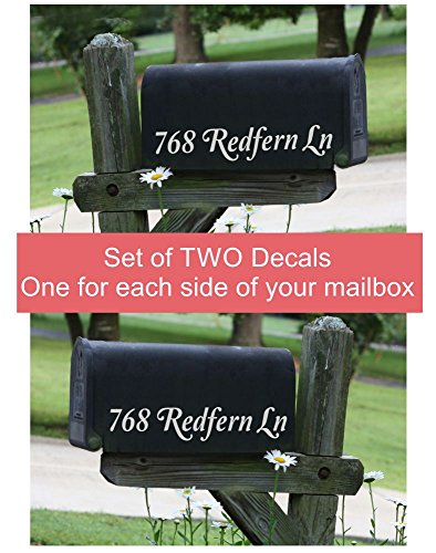 Mailbox Address Decals Single Line Personalized Vinyl Lettering Stickers Decor, Set of (Custom Mailbox Lettering)