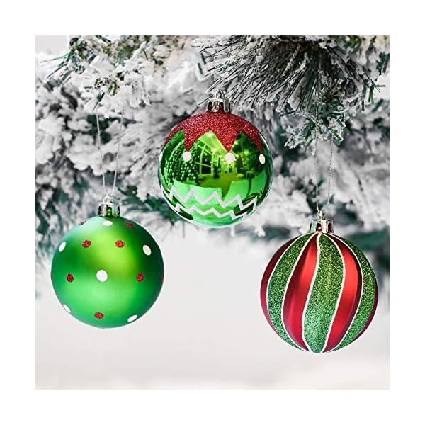 Victor's Workshop Addobbi Natalizi 16 Pezzi 8cm Palle di Natale, Delightful Elf Red Green And White Infrangibile Palla di Natale Ornamenti Decorazione per la Decorazione Dell'Albero di Natale 4 spesavip