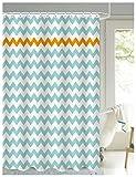 LanMeng Geometric Fabric Shower Curtain, Chevron, Baby Blue Orange Whie (72-by-72 inches, Baby Blue Orange Chevron)