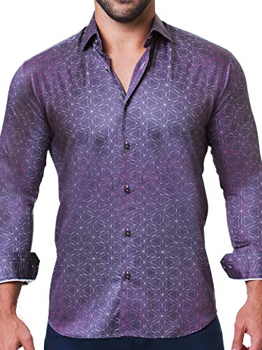 Maceoo Mens Designer Dress Shirt - Stylish & Trendy - Fibonacci Star Navy - Tailored Fit (Collar Cotton Shirt Dress Italian)