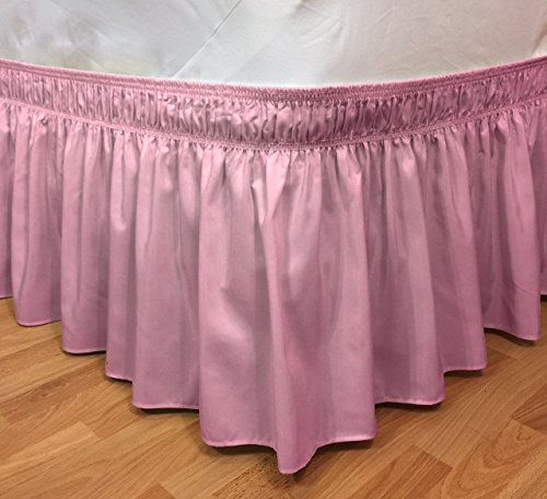 Rose Box Spring (Elastic Ruffle Bed Skirt Easy Warp Around King/Queen Size, Bed Skirt Pins Included By CT Discount Store (king/queen, Pink))