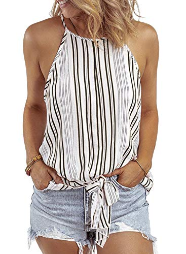 Asvivid Womens Sleeveless Crew Neck Tank Tops Camis Striped Front Tie Knot Casual Shirt Keyhole Front Loose Vest Blouse L Multi2