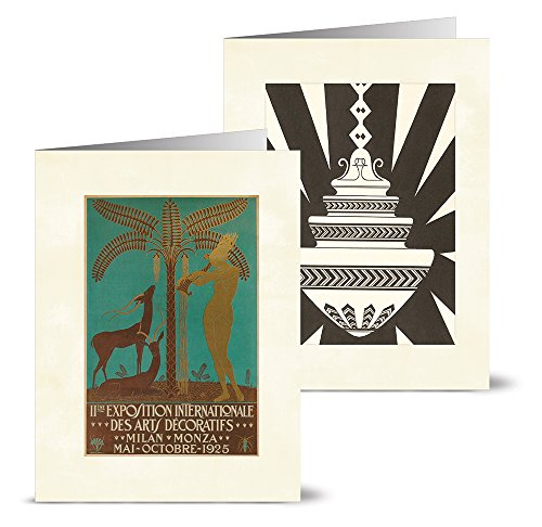 Vintage Art Deco - 36 Note Cards - 12 Designs - Blank Cards - Off-White Ivory Envelopes Included