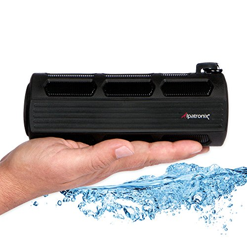 Alpatronix Waterproof Bluetooth Speaker Portable Rechargeable 12W Stereo Shockproof & Dustproof Wireless Speaker w/Built-in Mic, Controls & Subwoofer for Bicycles, Smartphones & Computers - Black