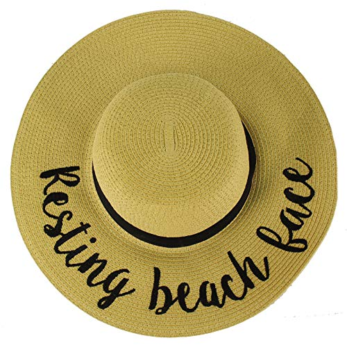 C.C Fun Verbiage Elegant Wide Brim 4\ Summer Derby Beach Pool Floppy Dress Sun Hat Natural (R)