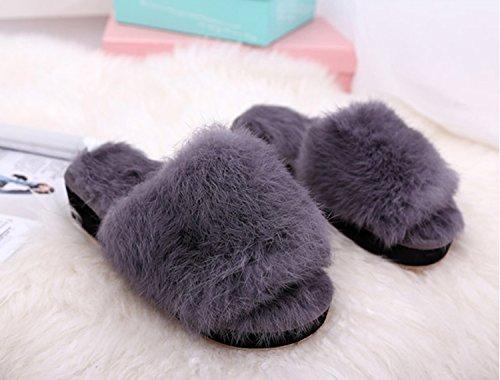 algodón Antideslizantes Zapatillas Zapatos Zapatillas cálidas Negro Zapatillas Exteriores Inicio Mujeres Gris de caseros Zapatos DANDANJIE Chanclas Rojo Gris 5Y8qZSS