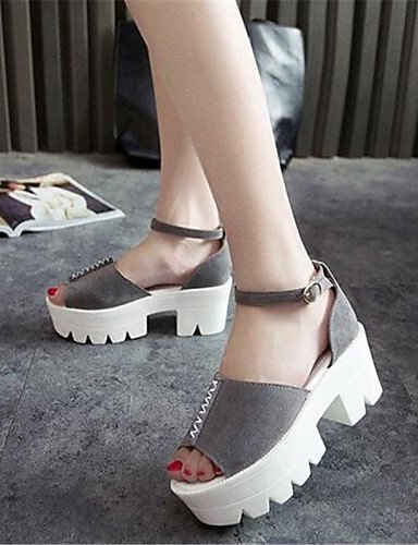 Sandals Black ShangYi Creepers Platform Leatherette Pink Black Casual Women's Shoes Gray Xwqw01F