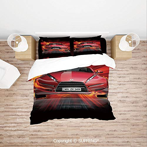3D Duvet Cover Bedding Sets Front View of a Fire Car Speeding Hot Flames on Abstract Backdrop Concept Design Decorative ( Comforter Not Included) Soft, Breathable, Hypoallergenic, Fade Resistant